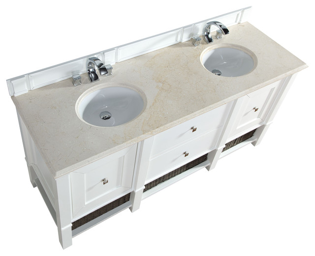 72 Cottage White Traditional Double Bathroom Vanity Beach Style Ba