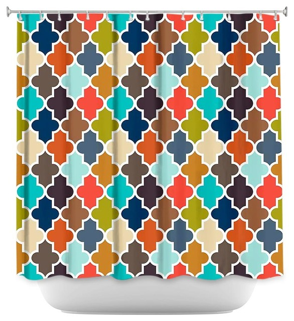 Shower Curtain Unique from DiaNoche Designs - Earthy Quatrefoil  contemporary-shower-curtains - Shower Curtain Unique From DiaNoche Designs - Earthy Quatrefoil