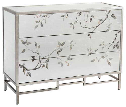 John Richard Modern Classic Framura Grey Silver Frame Three Drawer Chest