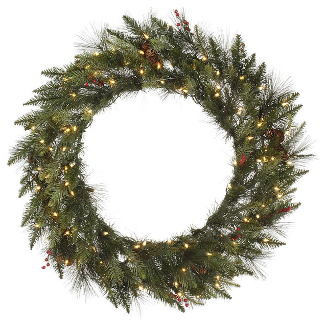 "Vallejo Mix Pine Berry Wreath, 36"", Clear Lights."
