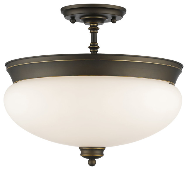 Amon 3-Light Semi-Flush Mounts, Olde Bronze.