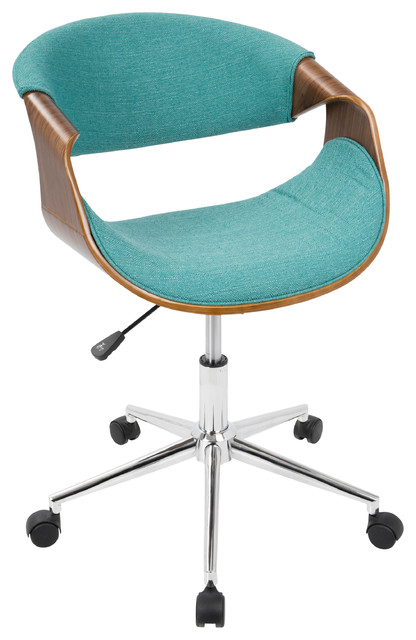 LumiSource Curvo Office Chair, Walnut And Teal