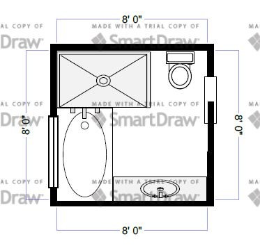 Bathroom layout idea 8x8 for Bathroom designs 8x8