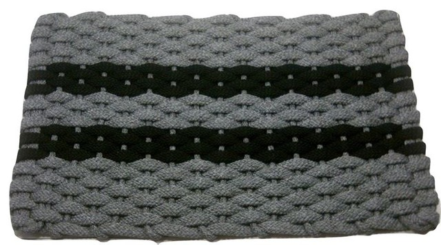 "20""x34"" Rockport Rope Mat, Gray With 2 Black Stripes And Gray Insert."