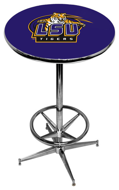 Lsu Tigers Purple Pub Table With Chrome Foot Ring Base