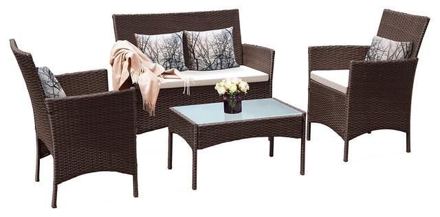 Costway 4 PC Patio Rattan Wicker Chair Sofa Table Set Outdoor Garden Furniture