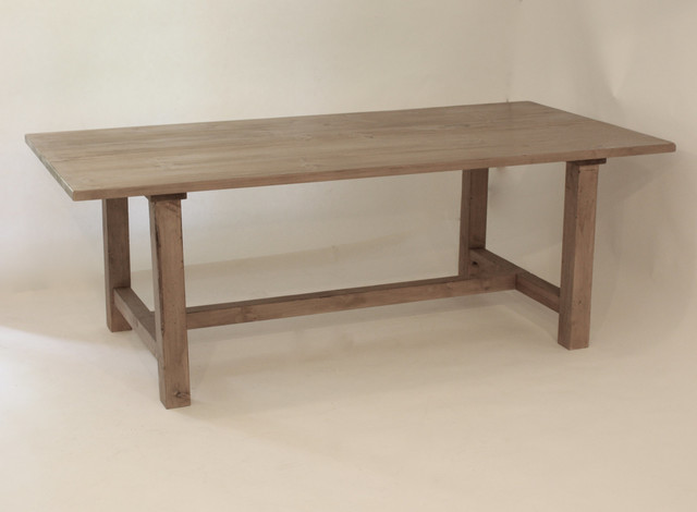 Reclaimed Wood Hand Honed Gray Farmhouse Style Table By