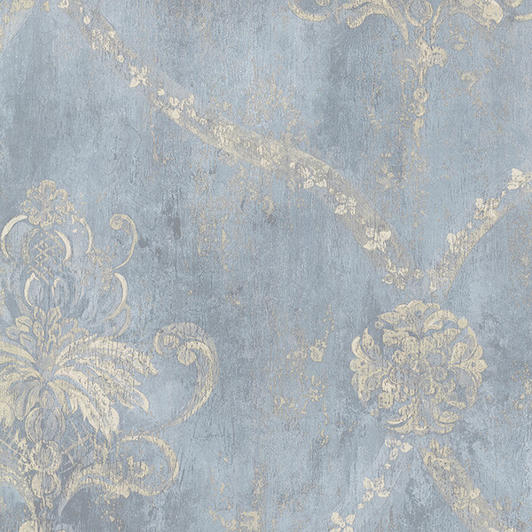 Large Damask, Blue And Beige, Ch22567 Wall Covering, 3&x27; Sample.