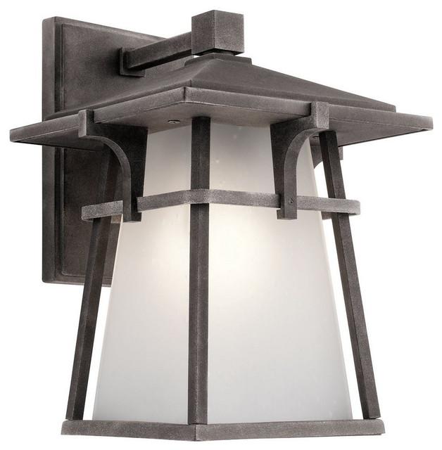 Beckett 1 light medium outdoor wall lantern weathered zinc opal white glass craftsman