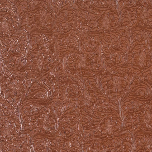 Clay Brown Tooled Floral Designed Upholstery Faux Leather By The Yard