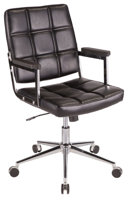 Lumisource Bureau Office Chair With Chrome Metal and Black PU Leather