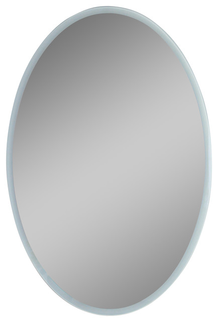 oval electric led mirror with surrounding lights - contemporary