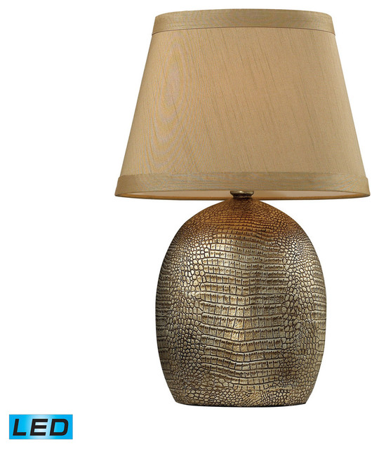 Gilead Led Table Lamp With Alligator Texture Base, Meknes Bronze.
