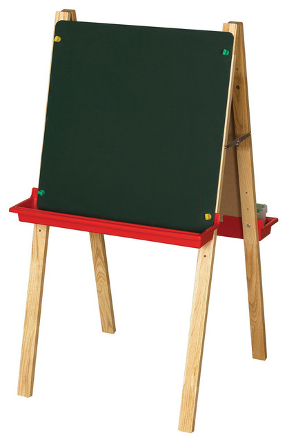 Double, Sided Adjustable, Easel With Chalkboard And Dry Erase Board.