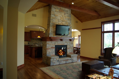Is This A Double Sided Fireplace Exposed To The Kitchen As Well