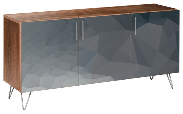 Midnight Topography Hairpin Sideboard, Walnut/chrome.