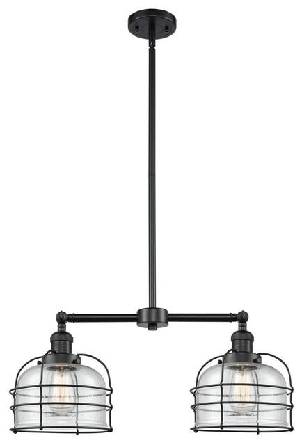 """Innovations Large Bell Cage 2-LT Large Bell 22"""" Chandelier - Matte Black"""