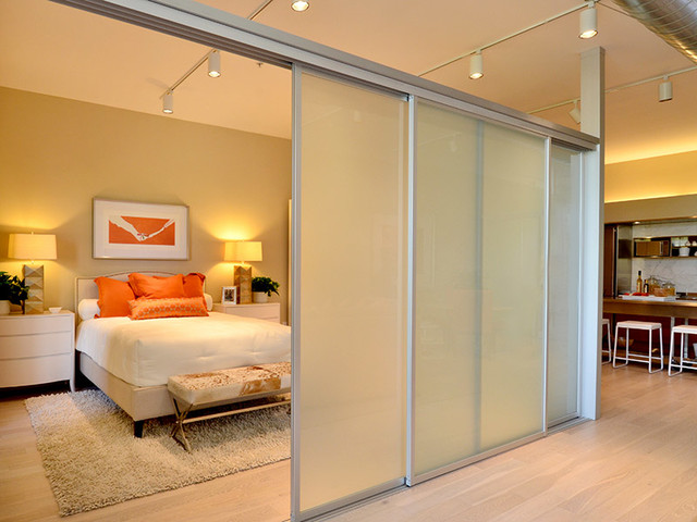 Glass Room Divider sliding glass room dividers - modern - new york -executive