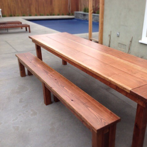 redwood outdoor farmhouse dining table - rustic - dining tables