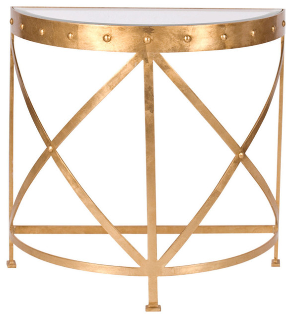 Worlds Away Half Round Studded Console Table, Clear, Gold Contemporary  Console Tables