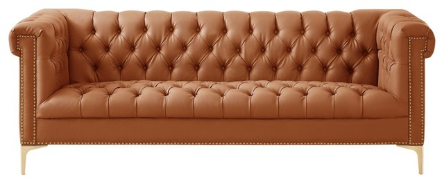 Grete PU Leather Sofa, Nailhead Trim With Y-legs - Contemporary ...