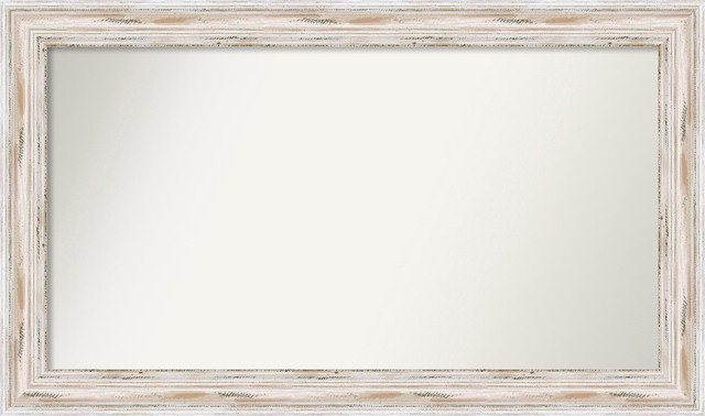 "Wall Mirror, Choose Your Size Large, Alexandria Whitewash Wood, 44""x26""."