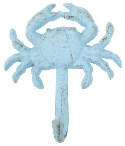 Rustic Light Blue Cast Iron Wall Mounted Crab Hook 5, Cast Iron Hook, Coastal.