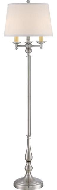 Quoizel Vivid Collection Kingsley Floor Lamp, Brushed Nickel