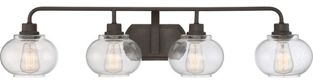 Trilogy Four Light Extra Large Bath Vanity Old Bronze Clear Seedy Glass