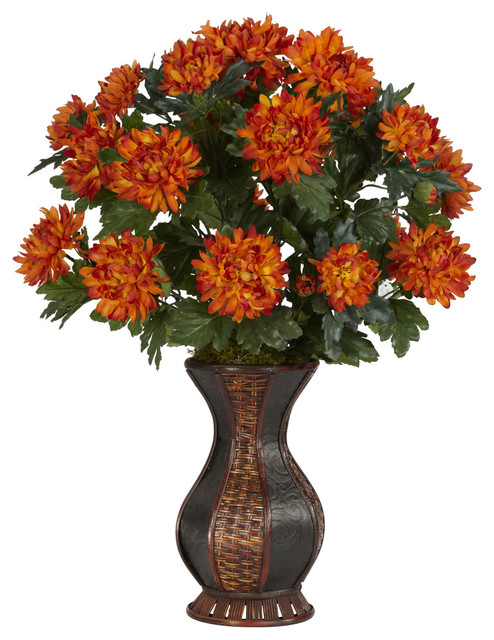Spider Mum With Urn Silk Plant Traditional Artificial Flower Arrangements By Bathroom