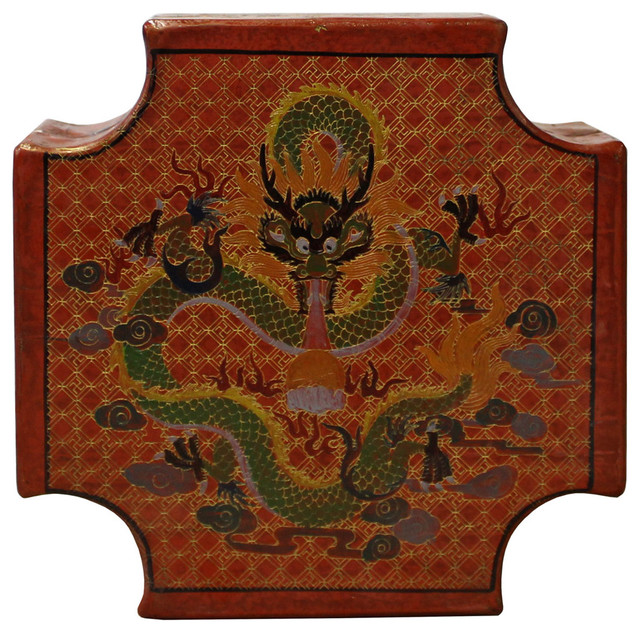 Golden Lotus Consigned Chinese Orange Red Dragons Graphic Box Custom Chinese Decorative Boxes