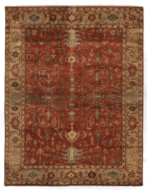 Sahar antique style weave serapi rug red and gold for Red and gold area rugs