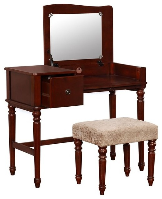 linon wyndham 3 piece bedroom vanity set rich walnut 13719 | home design