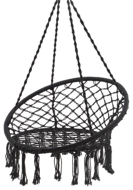 Macrame Hanging Chair, Black