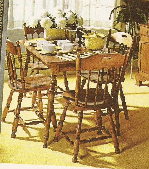 I Have Inherited My Husbandu0027s Grandmotheru0027s Ethan Allen Table (round Table)  And Chairs (captainu0027s Chairs In Other Photo) For My 1970u0027s Built  Contemporary ...
