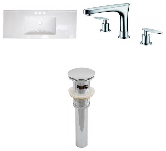 Ceramic Top Set, White Color With 8 O.c. Cupc Faucet And Drain.