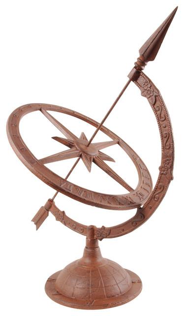Cast iron armillary sundial w hour indicator garden ornament