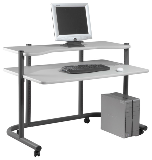 48 Quot Computer Workstation Pewter And Gray Desks And