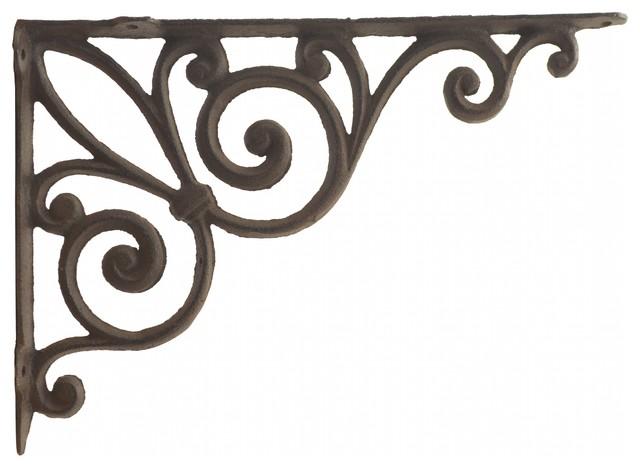 """Set of 4 Cast Iron Shelf BRACKETS New Antique Style Fleur De Lis 7.5/"""" x 7.5/"""""""