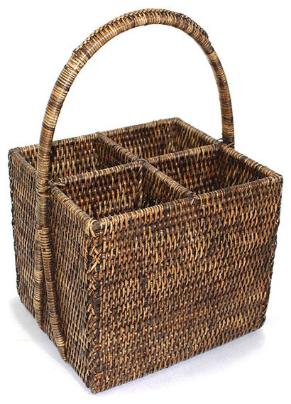 Rattan 4-Section Caddy Basket