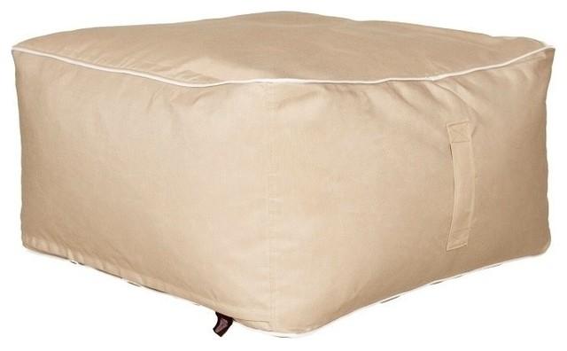 Strange Outdoor Indoor Sunbrella Square Bean Bag Ottoman Antique Beige Bralicious Painted Fabric Chair Ideas Braliciousco