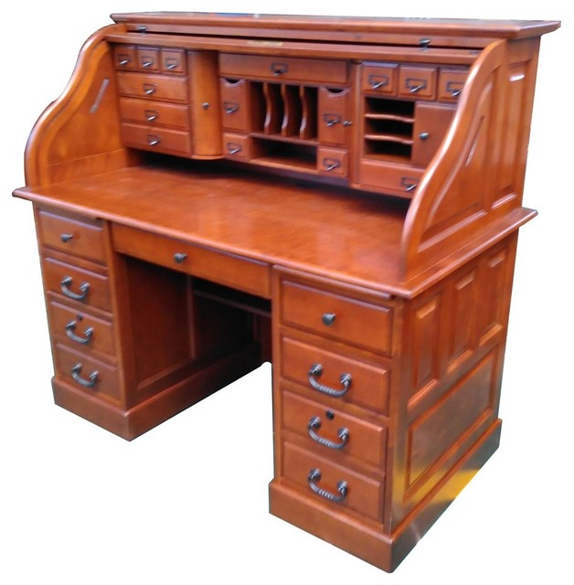 Marlin Deluxe Roll Top Desk Top Traditional Desks And Hutches