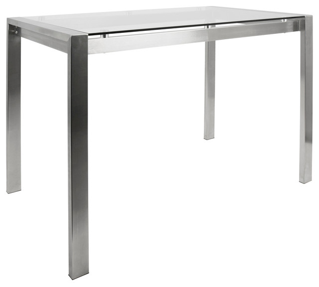 Fuji Contemporary Counter Table, Stainless Steel And Clear Glass  Contemporary Dining Tables