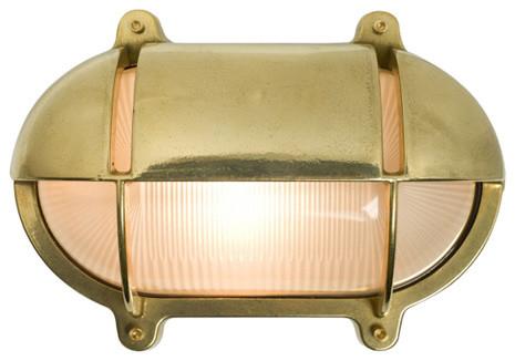 Oval Eyelid Bulkhead Light, Brass, Medium