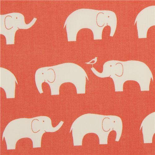 coral birch organic fabric with white elephants USA