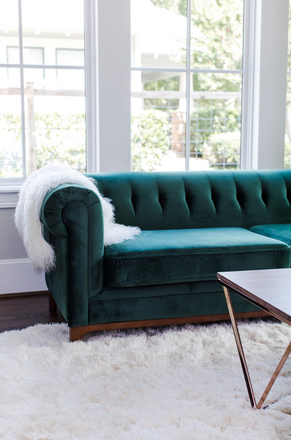 Green Velvet Sofa - Modern Chesterfield, Glam Chic - Houston ...