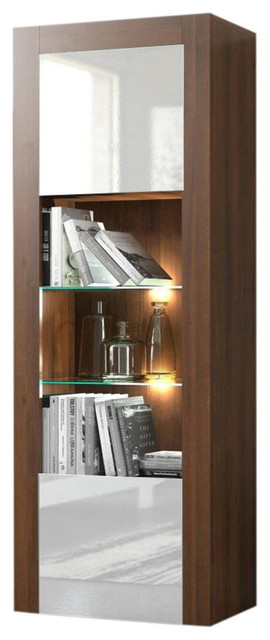 Milano Bookcase Matte Body and High Gloss Fronts, Walnut/White