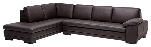 Baxton Studio Diana Dark Brown Sofa/chaise Sectional Reverse.