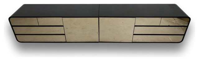 Consigned Black High Gloss Mid Century Floating Dresser, Credenza, Set Of 2.