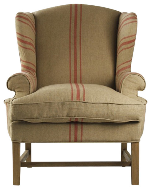 Fabien Club Chair With Red Stripes By Zentique Farmhouse